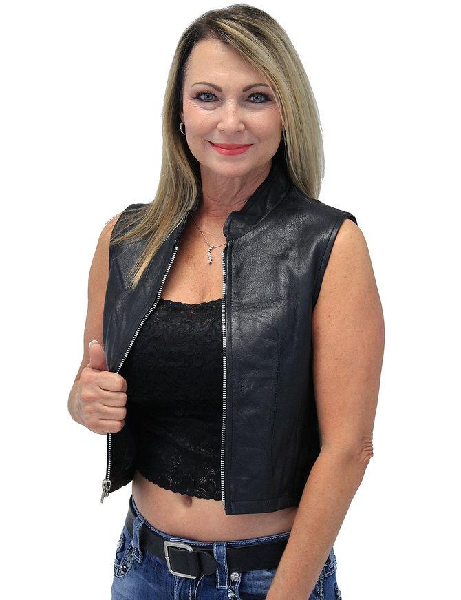 Lambskin Leather Zip Up Crop Top Club Vest ##VL3015CROP (XS-2X)