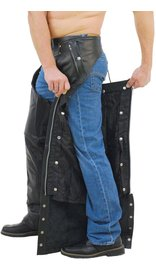 Unisex Premium Leather Chaps w/Snap Out Lining #C5077SPK