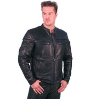 Vented Naked Leather Motorcycle Jacket - Scooter #M262NZ