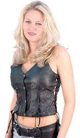 Jamin Leather Criss Cross Lace Up Leather Vest #VL1216XL (XS-5X)