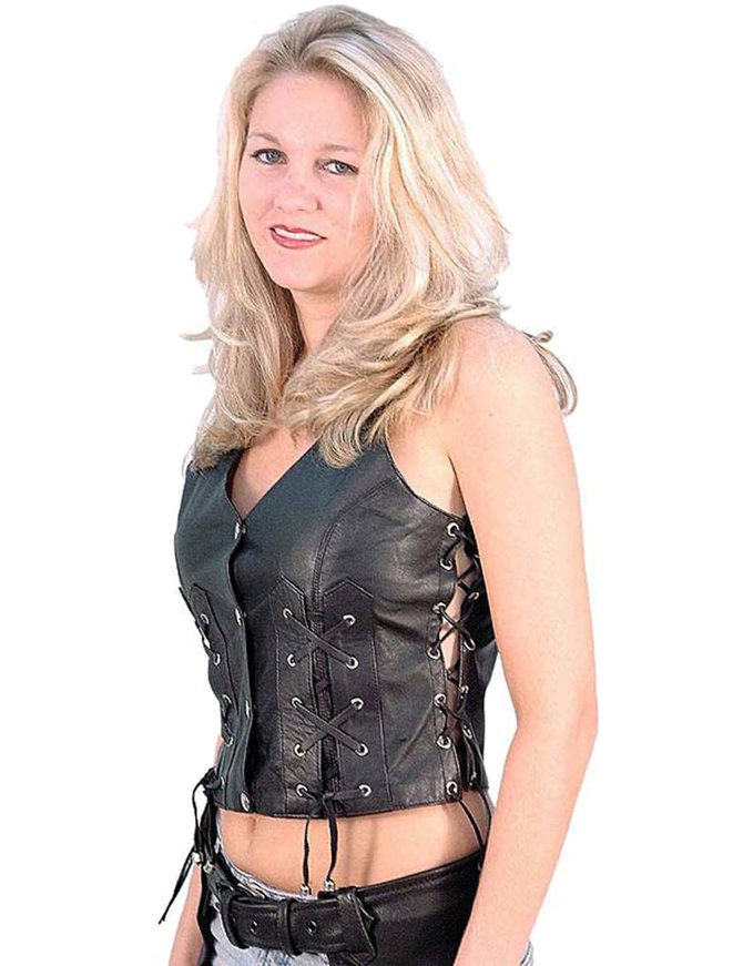 Jamin Leather Criss Cross Lace Up Leather Vest #VL1216XL