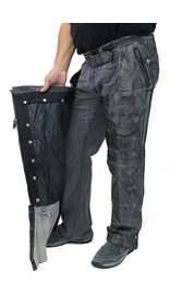 Unik 4 Pocket Vintage Gray Chaps w/Removable Lining #CA7205ZPGY