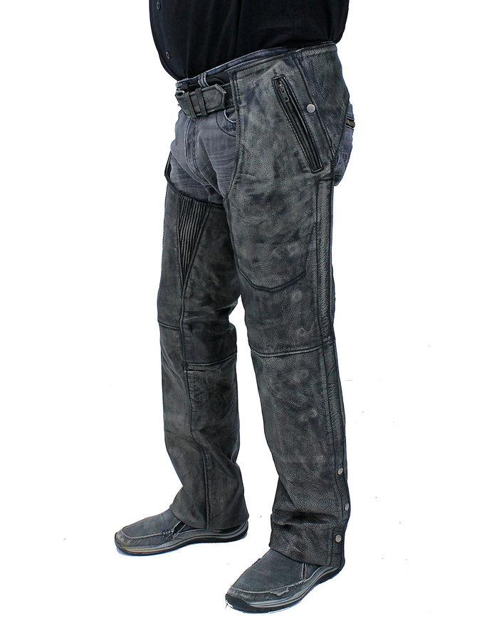 Unik 4 Pocket Vintage Gray Chaps w/Removable Lining #CA7205ZPGY