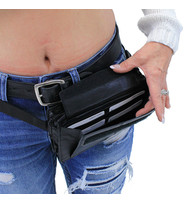 Rectangular Organizer Black Leather Waistbag #FP123K
