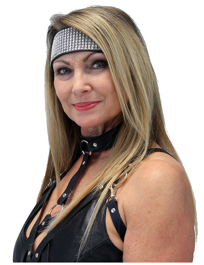 Jamin Leather Wide Leather and Crystal Headband #HB2011CRY