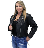 Womens Side Lace Crop Naked Leather Motorcycle Jacket #L350K -