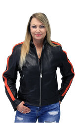 Orange Strip Women's Leather Motorcycle Jacket #L654416ZO -