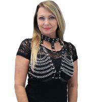 Black Chain Bra and Collar Halter Top #LH14551CK