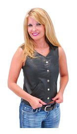 Women's Classic Leather Vest #VL104SP