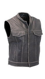 Jamin Leather Vintage Brown Leather Club Vest w/Dual CCW Pockets #VMA1015DN (S-5X)