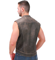 Jamin Leather Vintage Brown Leather Club Vest w/Dual CCW Pockets #VMA1015DN