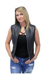 Lambskin Zip Front Long Leather Vest #LS6884ZK