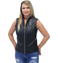 Lambskin Zip Front Long Leather Vest #LS6884ZK