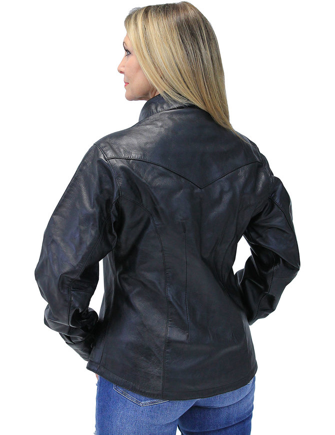 Rose Embroidered Women's Black Leather Shirt #LS86531ROSE