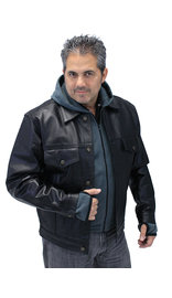 Jamin Leather Men's Hoodie Leather Jean Jacket w/CCW Pockets & Hoodie #M1412HK