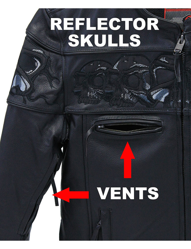 Milwaukee Naked Leather Reflective Skull Jacket w/CCW Pocket #M15000GZSK