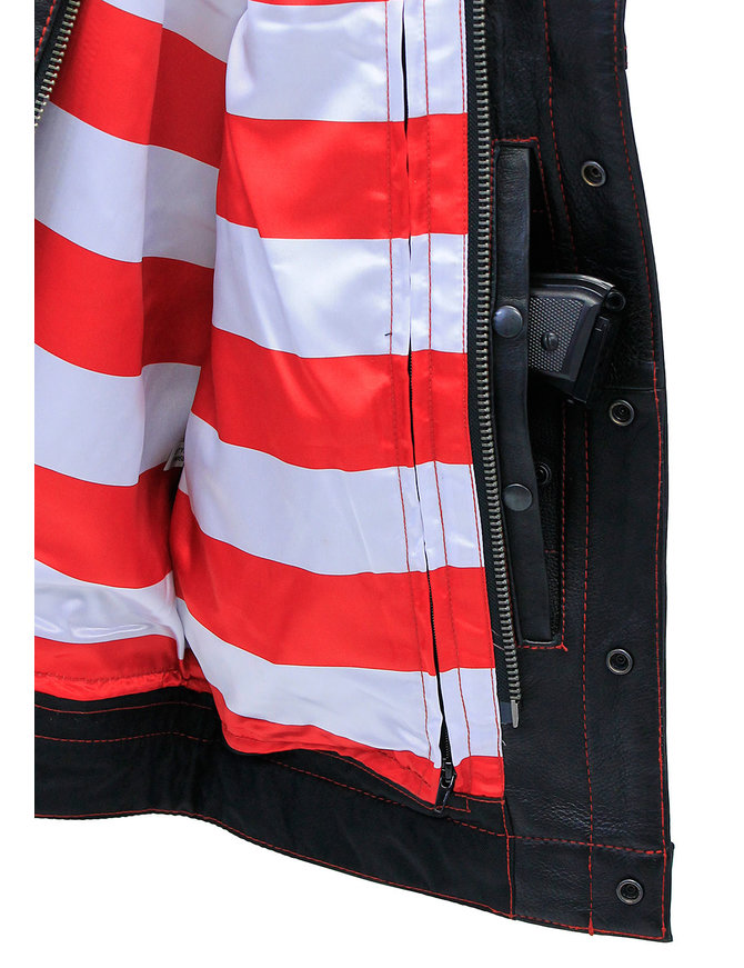 First MFG Red Stitch Flag Lined Premium CCW Club Vest #VM684FLAGR
