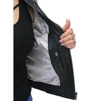 Unik Women's Black Leather Motorcycle Vest with Studded Collar #VL6876ZSK