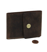 Brown Super Thin RFID Leather Snap Wallet #W513481N