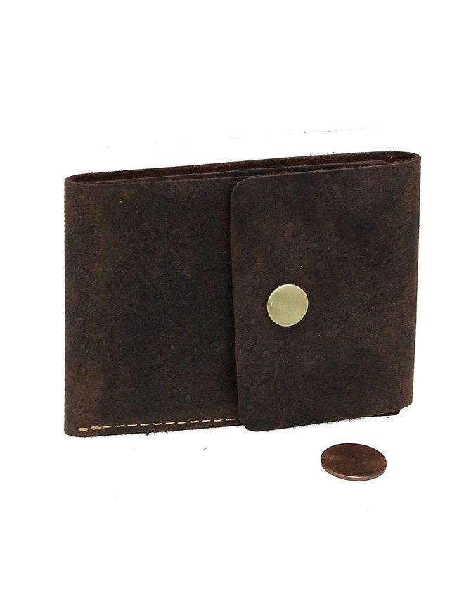 Brown Super Thin RFID Leather Snap Wallet #W513481N