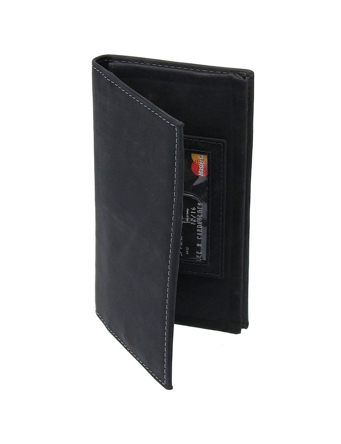 Charcoal Vintage Long Leather RFID Wallet Checkbook #W513520KID