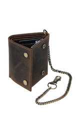 Vintage Brown Trifold Chain Wallet #WC54379N