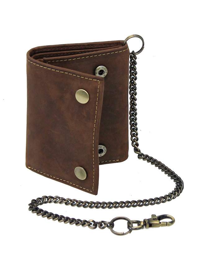 Vingage Brown RFID Trifold Chain Wallet #WC513211NID