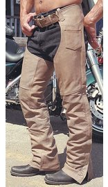 Light Brown Leather Motorcycle Chaps #C704N (XXS-3X)