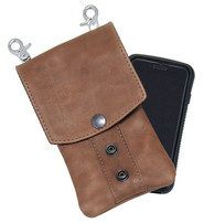 Jamin Leather Brown Leather Cell Phone Case - Adjustable Clip-On #PKK18091N