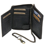 Charcoal Vintage Zippered Chain Wallet #WC543760ZK