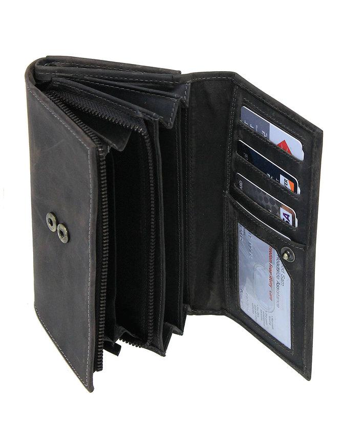 Women's Vintage Charcoal Gray Clutch Wallet #WL163310K