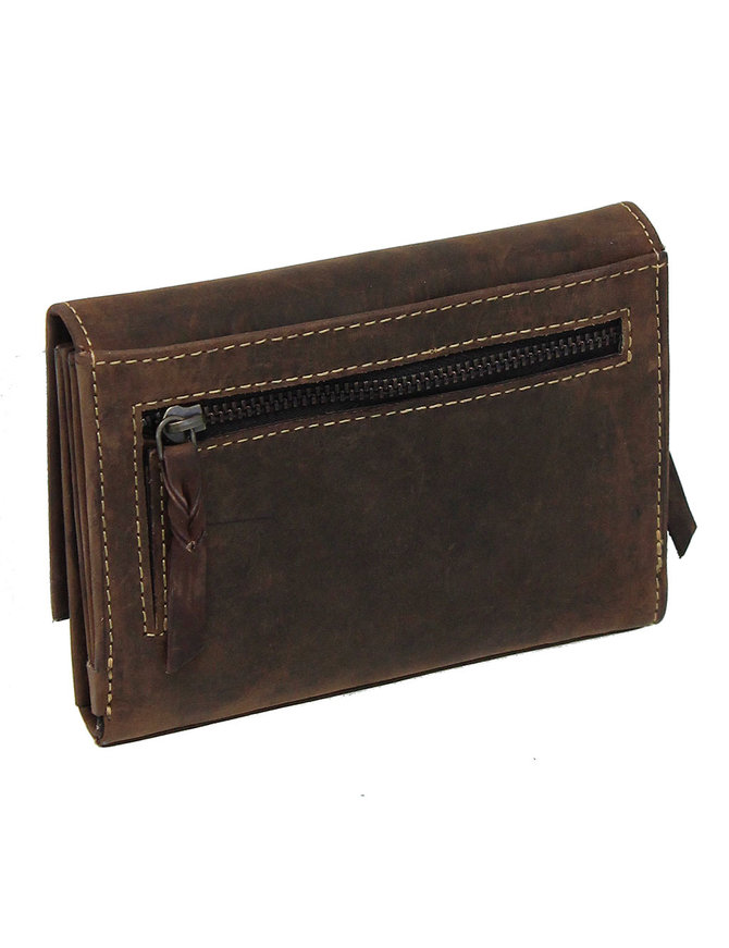 Women's Vintage Brown Hibiscus Embossed Wallet #WL163321FN