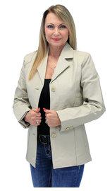 Sand Color Lightweight Women's 3 Button Leather Coat #L32BTT (S-3X)