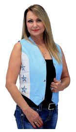 Unik Blue Star Motorcycle Leather Vest #VL265123SU (S-XL)