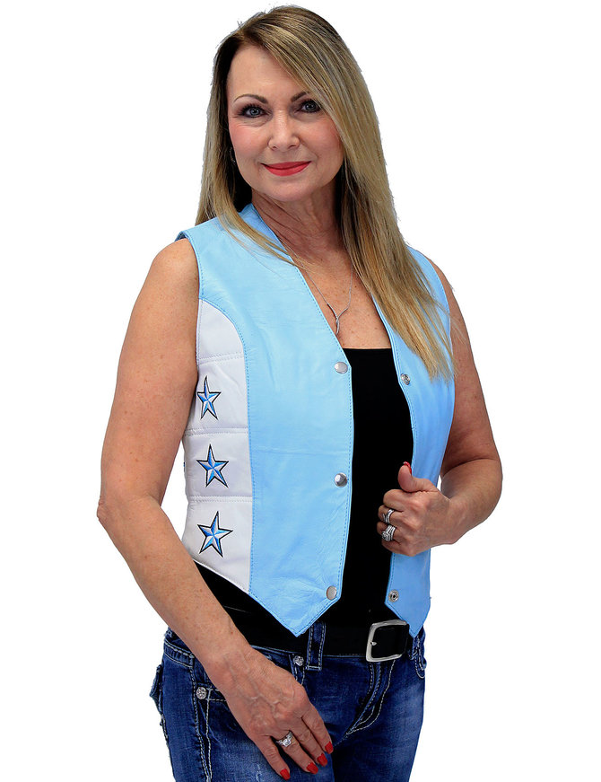 Unik Blue Star Motorcycle Leather Vest #VL265123SU