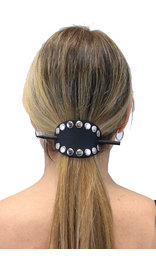 Jamin Leather Black Studded Stick Barrette #AH101SK