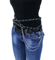 Multi-Strap Eyelet Belt with Clip-On Chain #A14587ECK