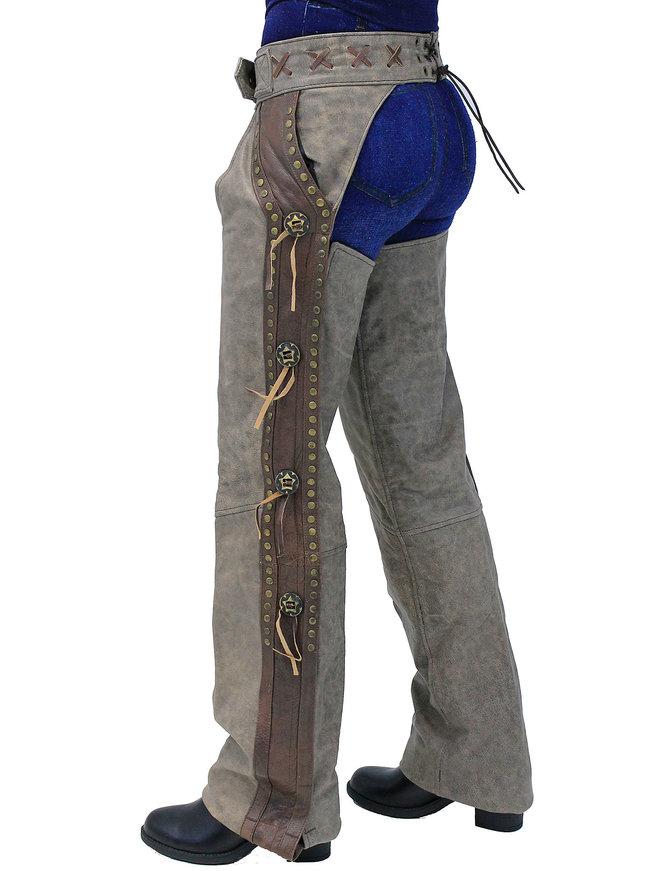Vintage Brown Western Chaps w/Conchos & Rivets #CA4302RCN