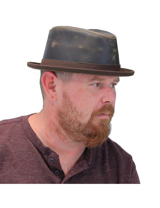 Vintage Brown Leather USA Soho Hat #H53001N