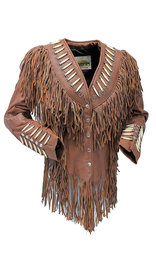 Brown Fringe Jacket w/Bone Beads & Studding #L42521FBN (S-L)