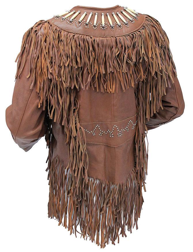 Brown Fringe Jacket w/Bone Beads & Studding #L42521FBN