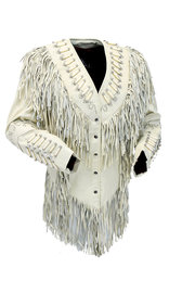 Cream White Fringe Jacket W/Bone Beads & Studding #L42525FBC (M-5X)