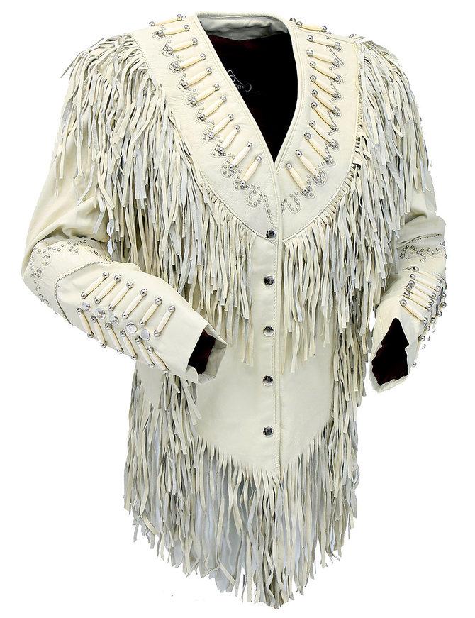 Cream White Fringe Jacket W/Bone Beads & Studding #L42525FBC