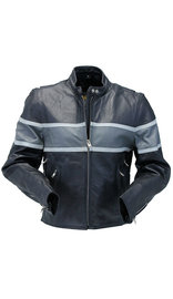 Vented Wide Gray Stripe Women's Motorcycle Jacket #L55718VZGY (S-2X)