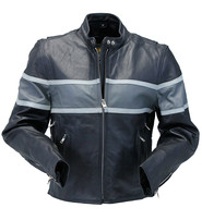 Vented Wide Gray Stripe Women's Motorcycle Jacket #L55718VZGY