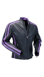 Purple Striped Motorcycle Jacket w/Zip-Out Lining #L256717ZP (S-XL)