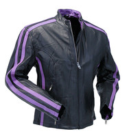 Purple Striped Motorcycle Jacket w/Zip-Out Lining #L256717ZP