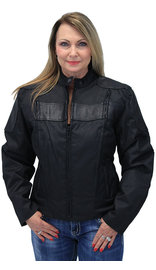 Leather and Textile Vented Women's Biker Jacket #LC2179VZK (XS-5X)