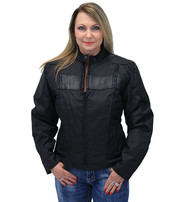 Leather and Textile Vented Women's Biker Jacket #LC2179VZK