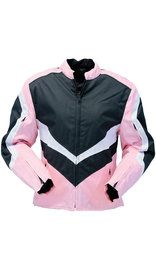 Pink Textile Vented Motorcycle Jacket with Armor #LC3453VZAP (L-2X)